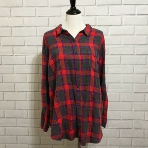 Lucky Brand Red & Blue Plaid Flannel Size  2X